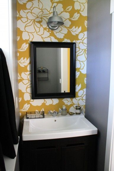 Yellow and gray in the bathroom wallpaper from antro for Gray bathroom wallpaper