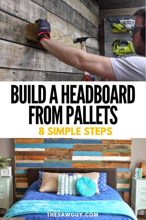 How To Build A Headboard From Pallets - 8 Simple Steps #palletbedroomfurniture DIY Wood Pallet furniture is popular for many reasons. Use our guide to build an upcycled pallet headboard in 8 simple steps!  Have a custom bedroom furniture piece that you made yourself!  #DIYfurniture #DIYheadboard #DIYhome #homedecor #palletfurniture #palletwoodideas #palletbedroomfurniture