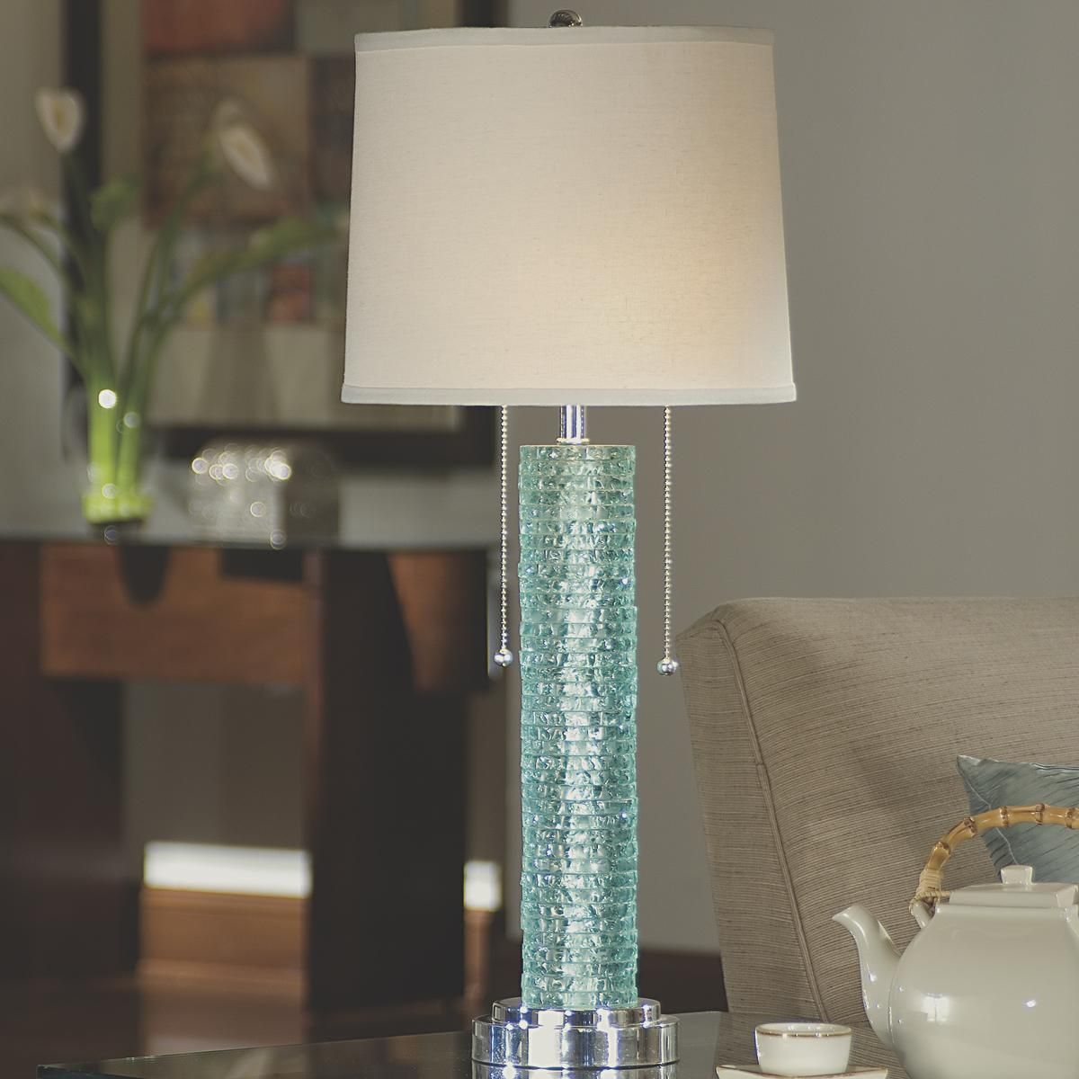 Stacked Aqua Glass Table Lamp Blue table lamp, Table