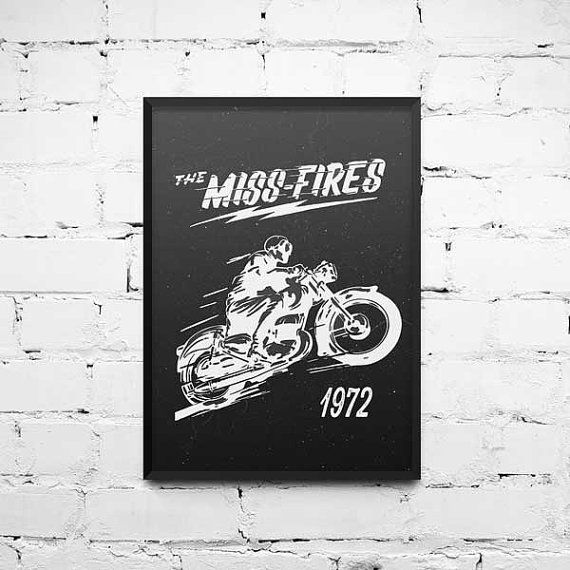 """Retro Art Prints """"The Miss Fire 1972"""" Vintage Style, Wall Art, Poster, Home Decor"""