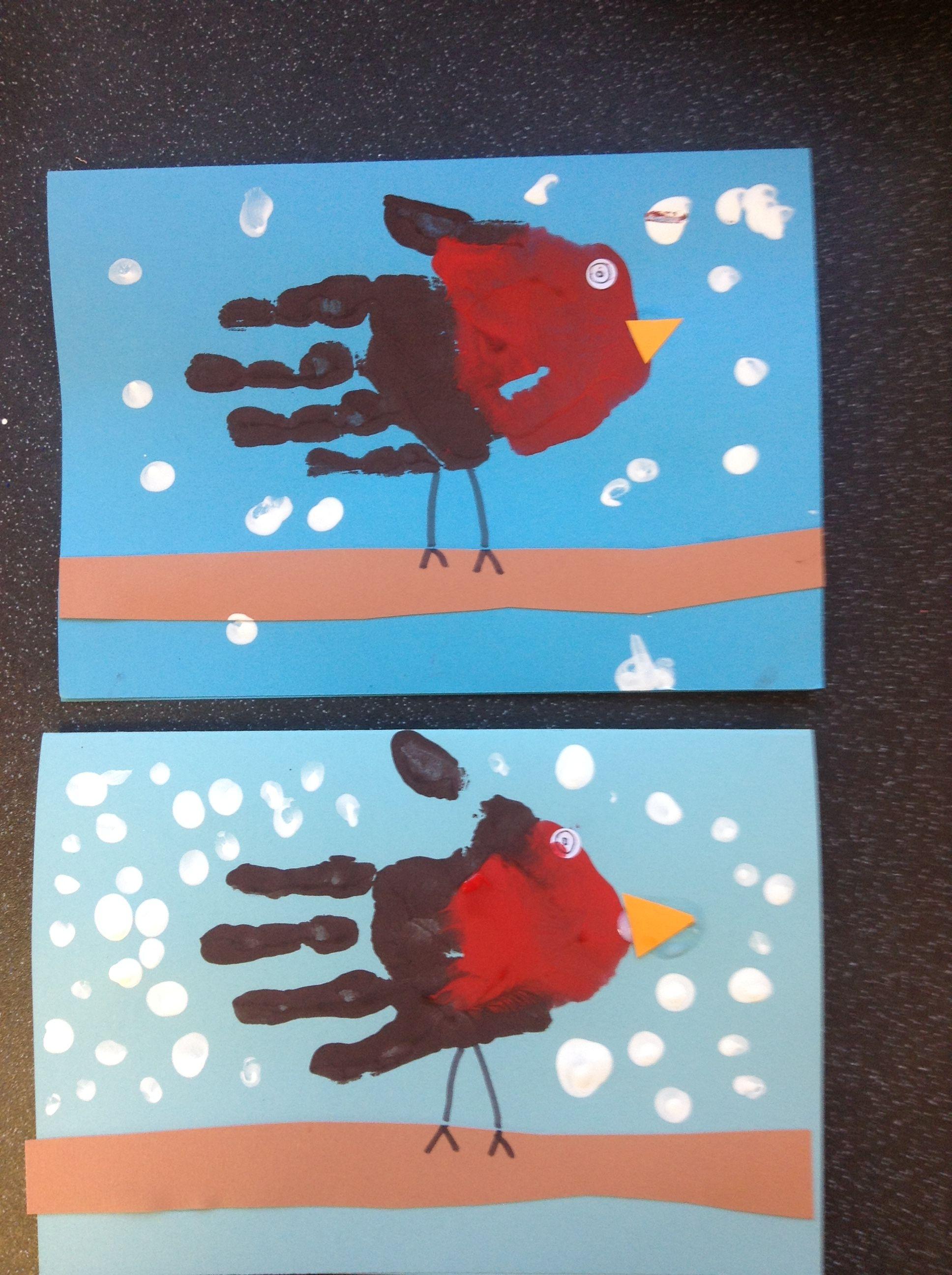 Handprint Robin Christmas Cards Made At Nursery The