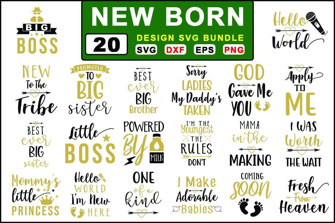 20 New Born Baby SVG Big Bundle , AFF, announcements