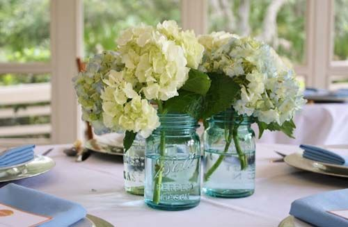 Elegant outdoor baby shower with citrus colors hydrangea