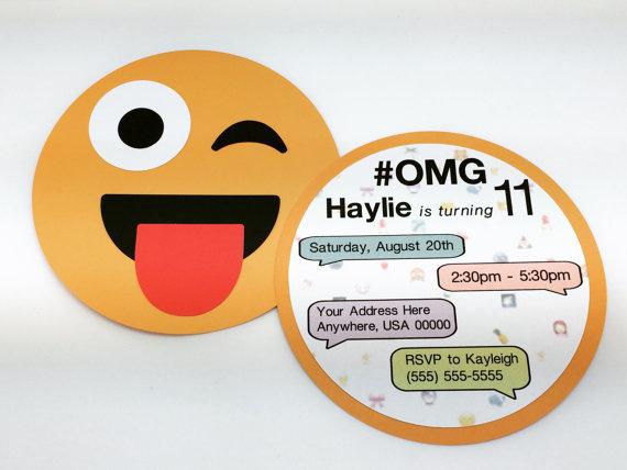 Emoji Invitation by DollyAndBella on Etsy