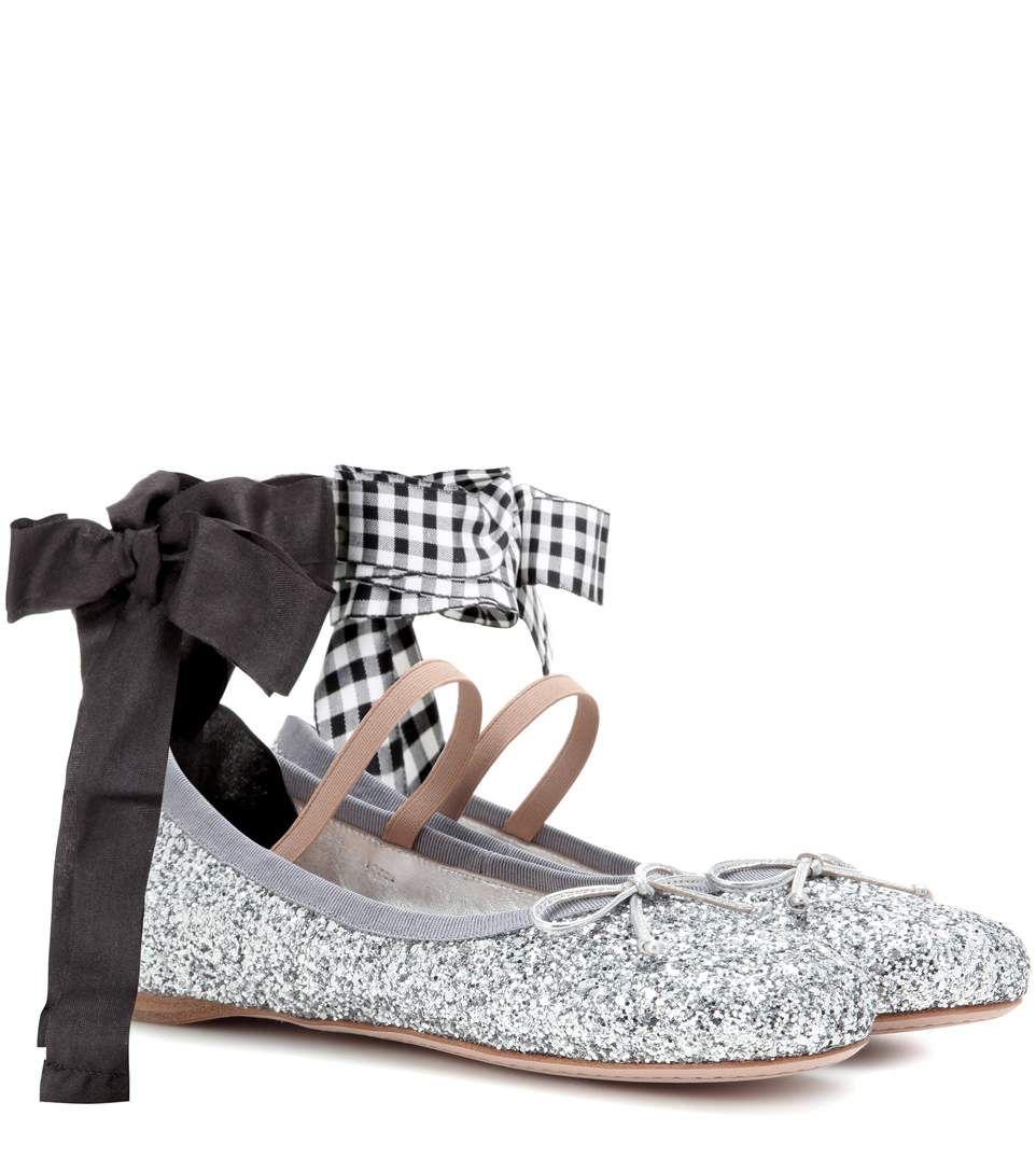 9691796b9166 MIU MIU Glitter ballerinas.  miumiu  shoes  flats