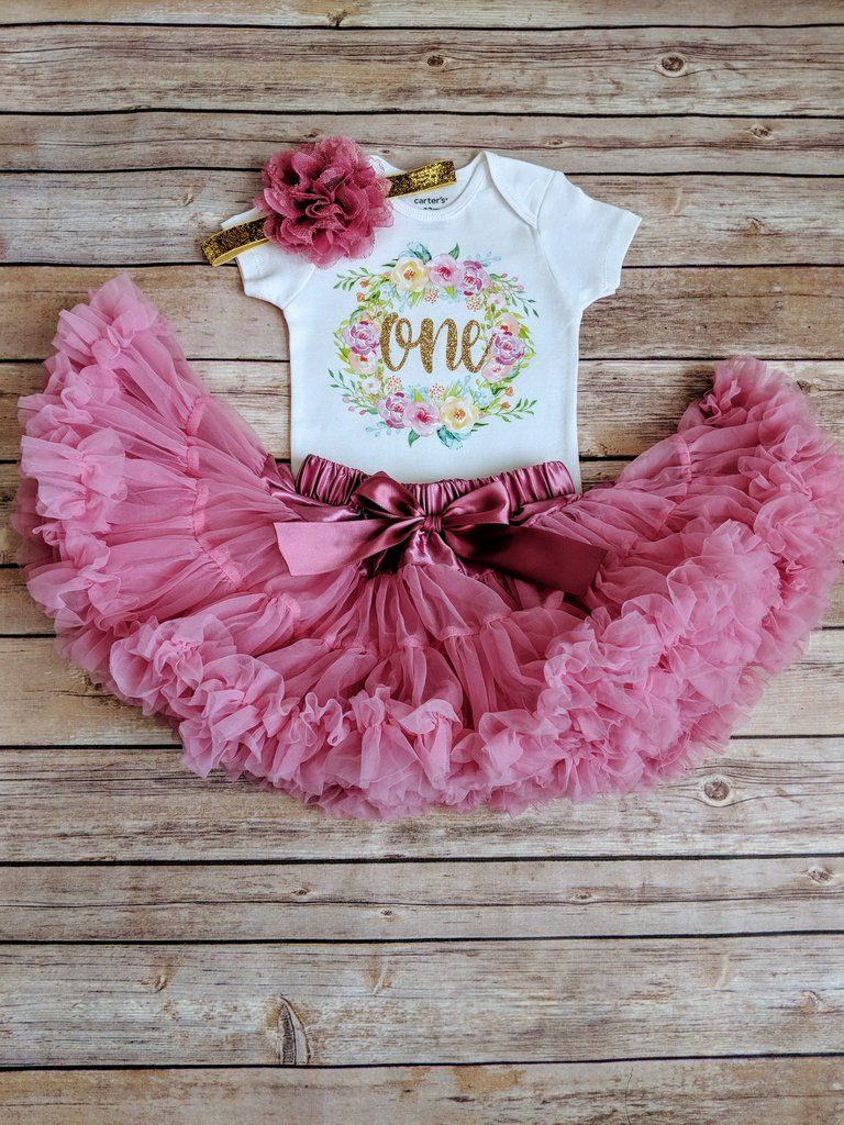 Dusty rose and gold first birthday outfit floral wreath in
