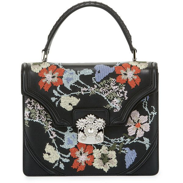 Alexander Mcqueen Small Floral Needlepoint Leather Satchel Bag (€1.430) ❤ liked on Polyvore featuring bags, handbags, black multi, leather satchel purse, floral handbags, floral purse, handbag satchel and leather flap purse