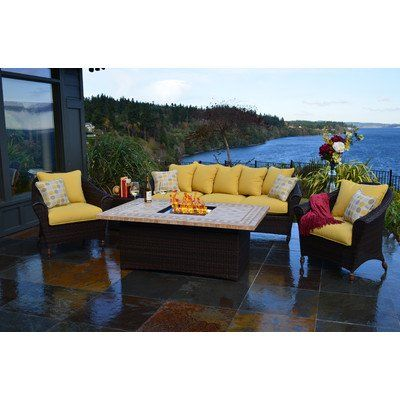 Patio Furniture Sets Outdoor Innovations Bellamar 6piece All Weather Wicker Fireconversation Set Learn More By Visiting The Image Link