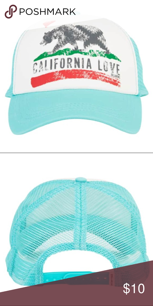 Billabong California love hat Billabong California love tea light blue trucker  hat adjustable originally purchased from PacSun. Cute beach girl vibes ... 2a62b3f5dd54