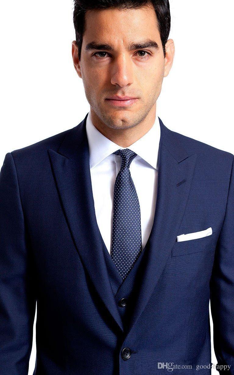 Side Vent Navy Blue Groom Tuxedos Peaked Lapel Slim Fit Best Men\'s ...