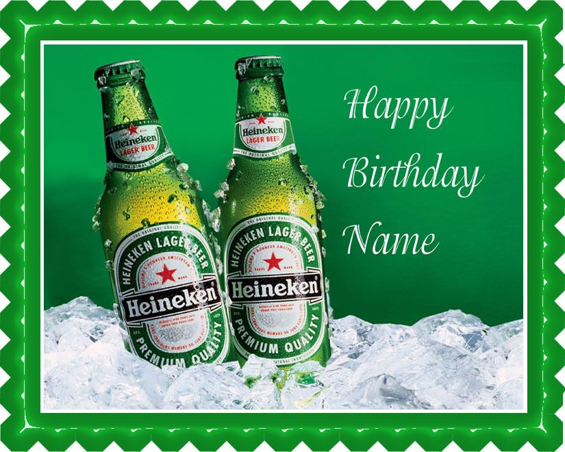 Awe Inspiring Heineken Beer Edible Birthday Cake Topper With Images Birthday Funny Birthday Cards Online Sheoxdamsfinfo