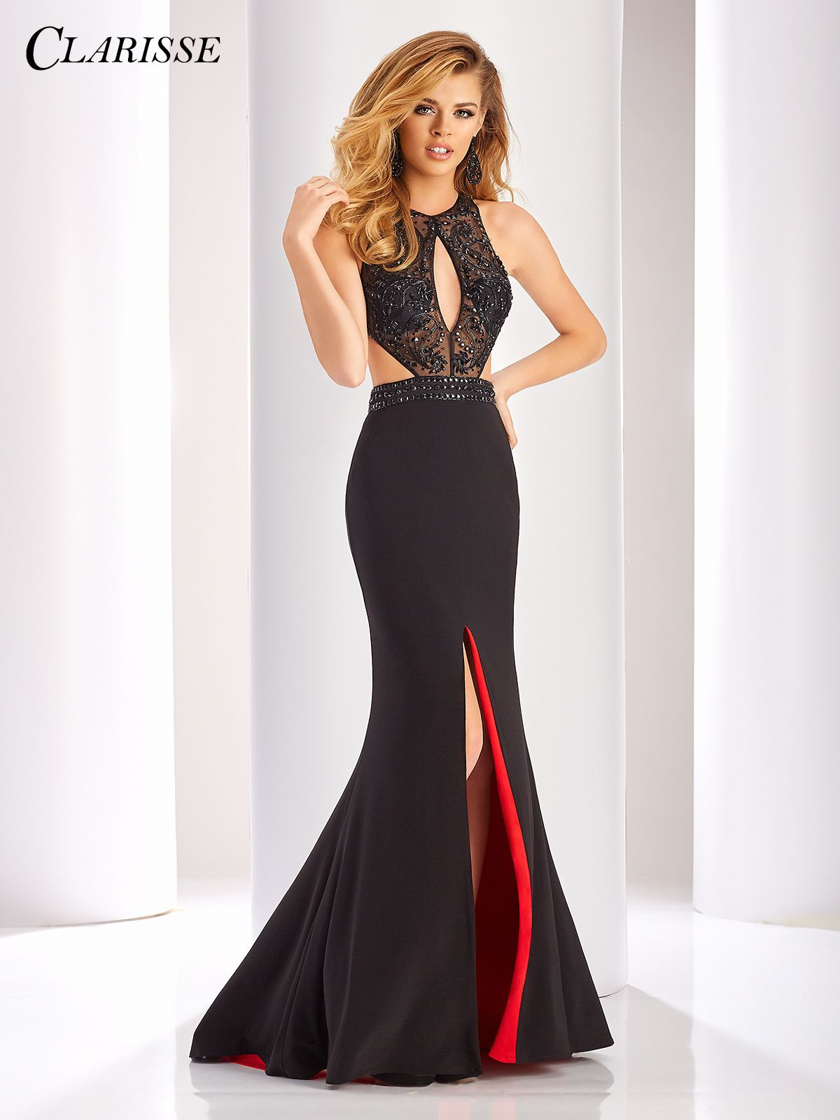Clarisse Black and Red Prom Dress 3098 | Long fitted prom dresses ...