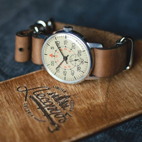 Mens USSR soviet vintage wrist watch ZIM. Watch for him, new leather strap NATO