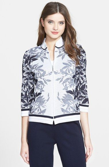 Ming Wang Leaf Jacquard Knit Bomber Jacket available at #Nordstrom