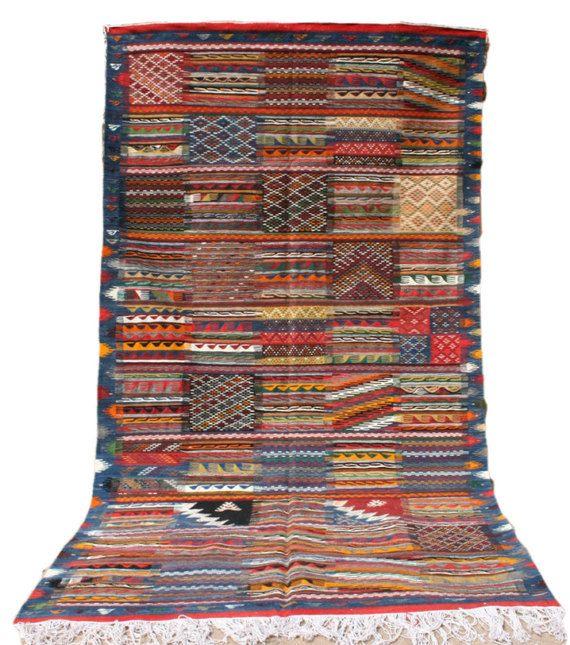blau roter teppich 150x250 streifen rauten muster patchwork stil kelim kelimteppich. Black Bedroom Furniture Sets. Home Design Ideas