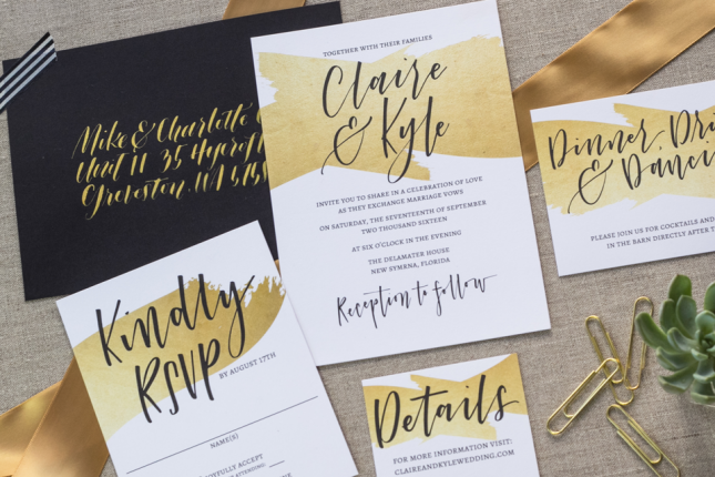15 gold foil wedding invitations that will make you swoon