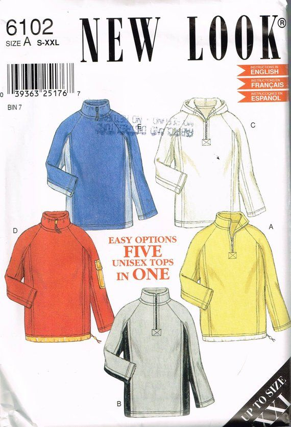 size s xxl misses or mens sweatshirt sewing pattern fleece rh pinterest com
