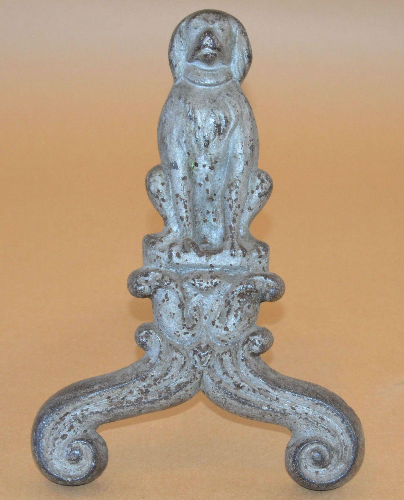 1 rare antique vintage firedog fireplace fire hearth dog leg cast