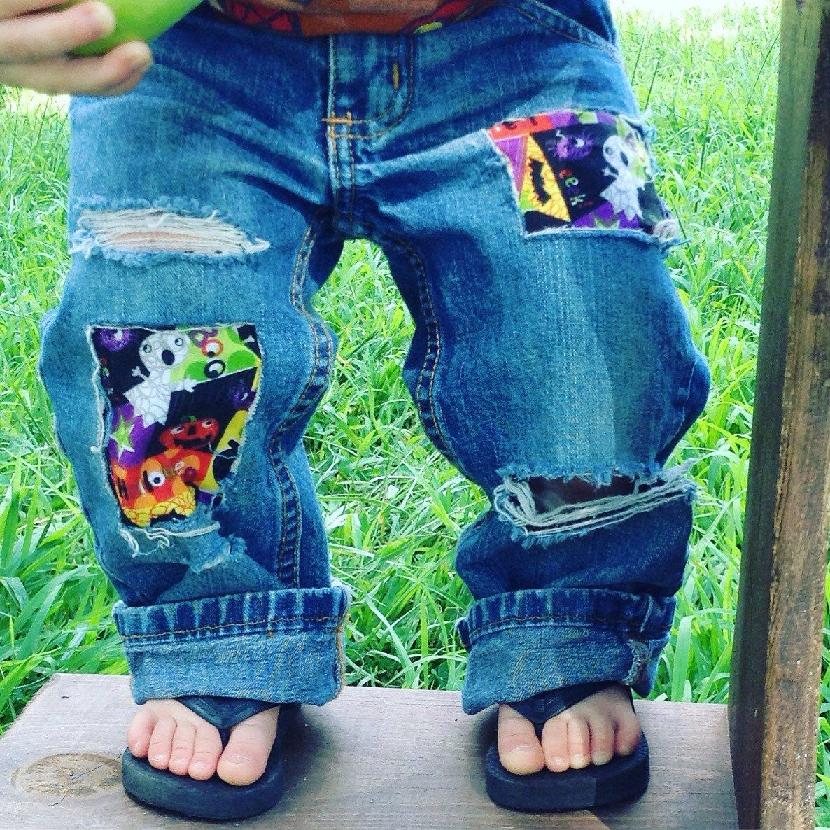 Boys Halloween Distressed Jeans Patchwork Denim Toddler Infants Jeans Ghosts Pumpkin Fall Jeans by MountainMadeDenim on Etsy