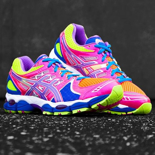 multi coloured asics trainers