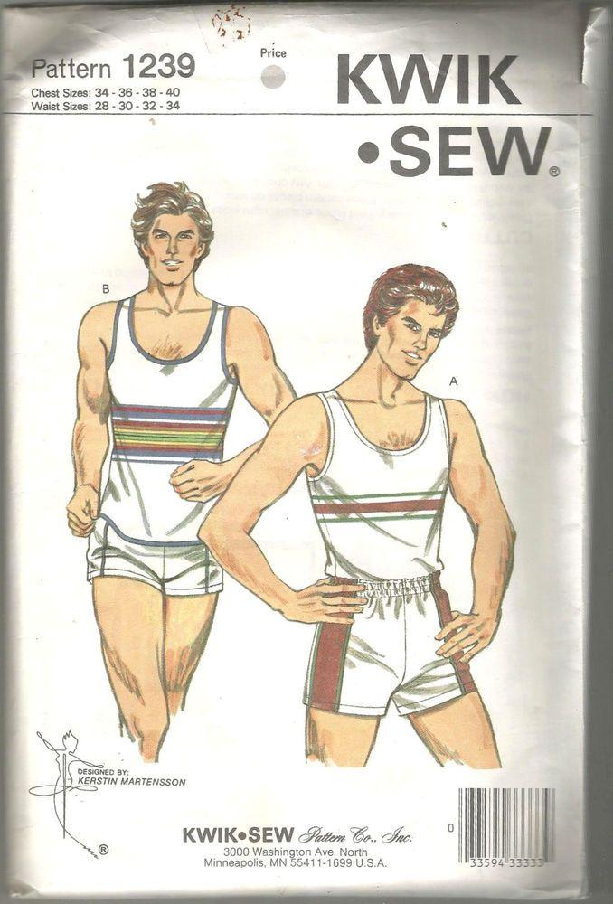 Vintage 80s Kwik Sew 1239 Sewing Pattern Mens tank top short Kerstin ...