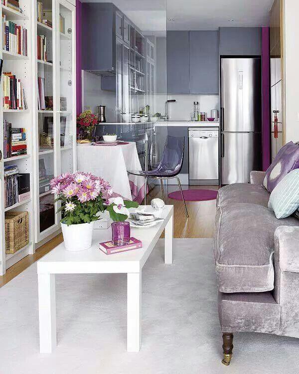 Crushed purple living room, feminine touches, velvet sofa ...