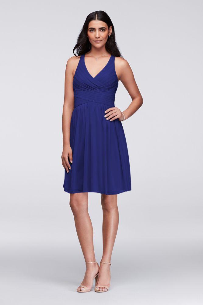 223364e87a1 Mesh Short Bridesmaid Dress with Crisscross Back Style W11480 ...