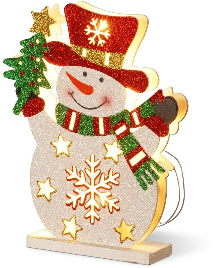 National Tree Company Pre-Lit Glitter Snowman Table Decor archivo