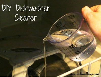 Great DIY Dishwasher Cleaner  Pour 1 Cup Distilled White Vinegar On The Bottom Of  The