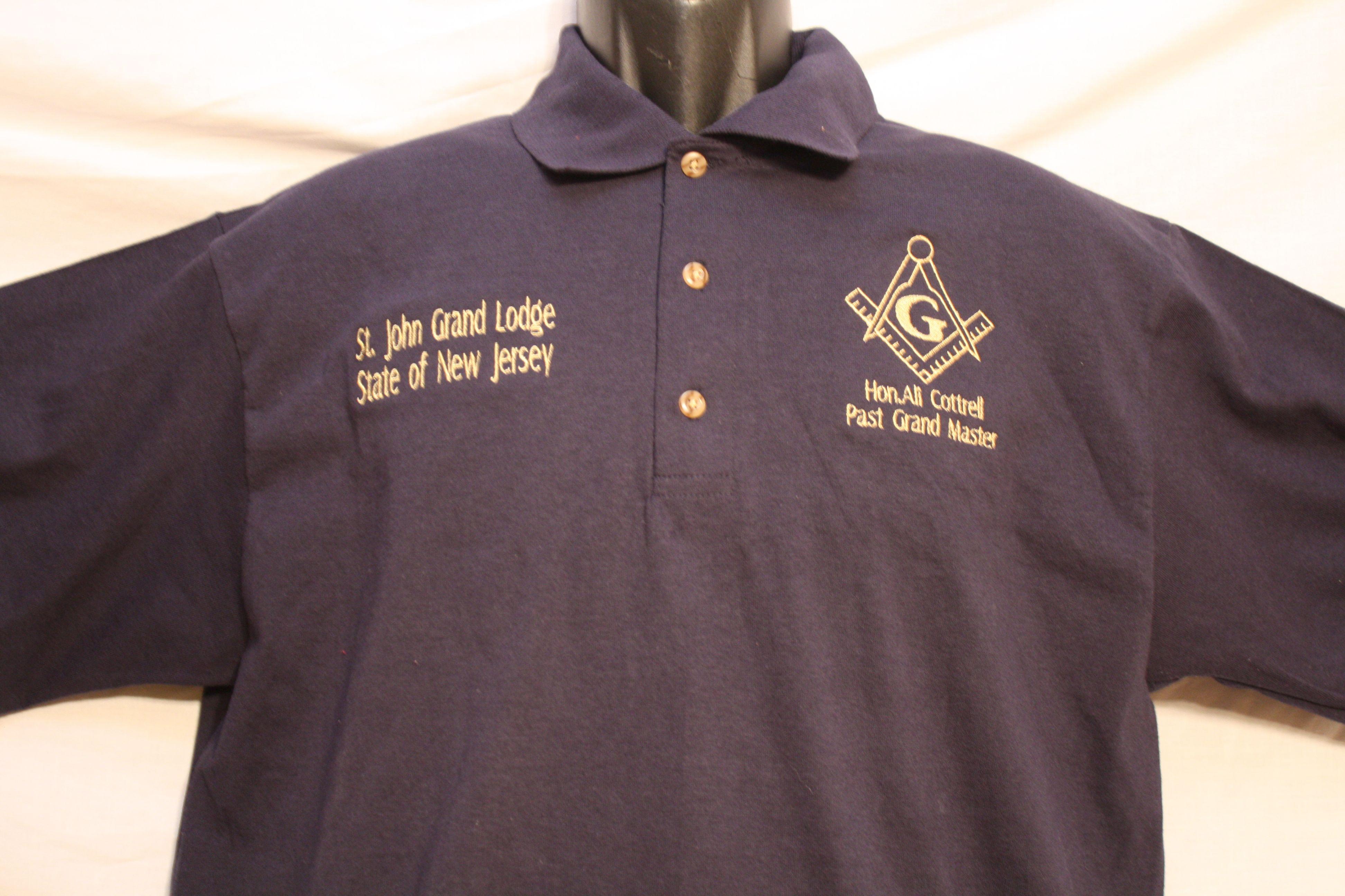 9b10e395a Mason personalized knit polo shirt with Square & Compass logo ...