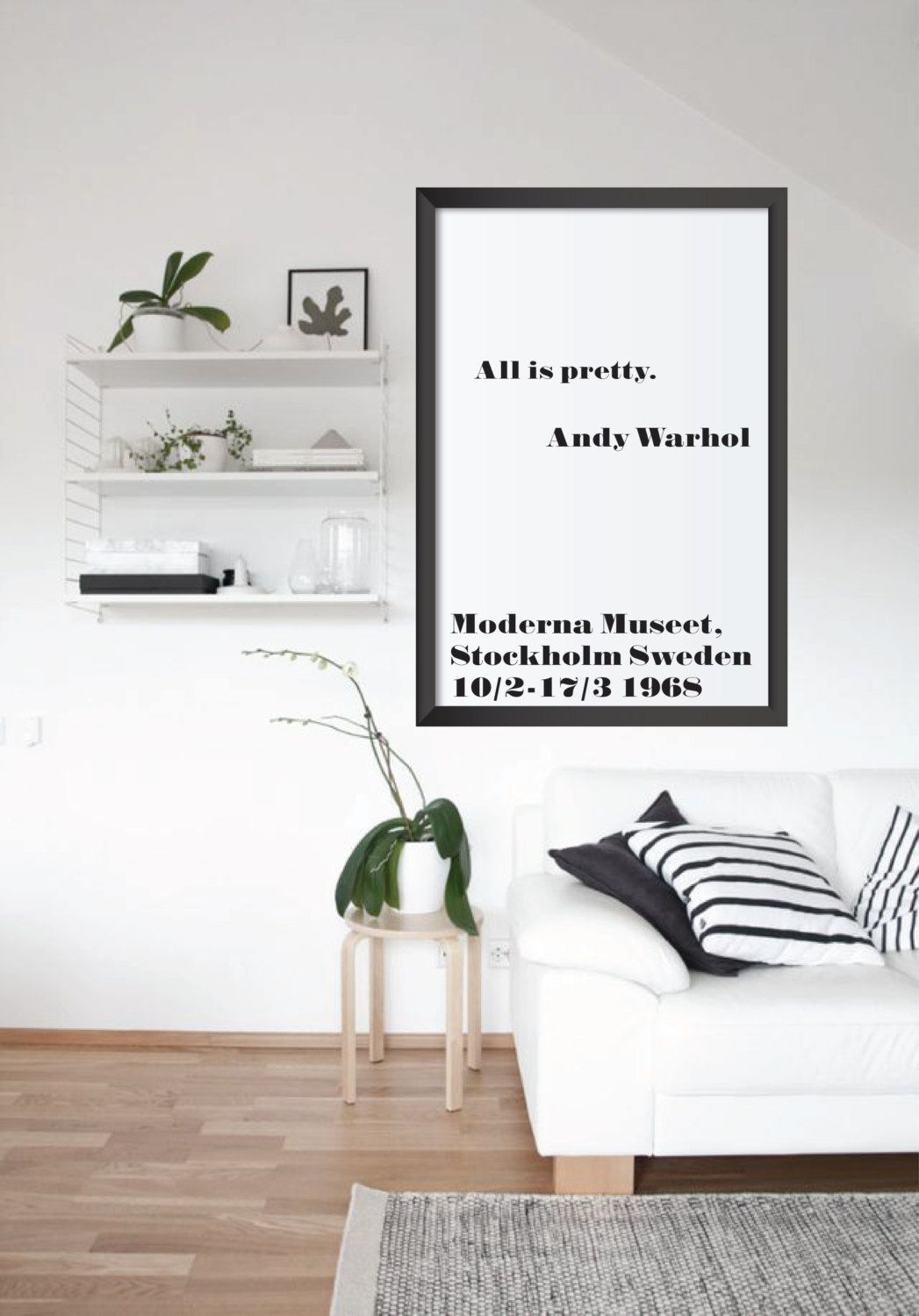 Andy Warhol All Is Pretty Famous Quote Printable Poster Instant Download  Scandinavian Print Modern Wall Art