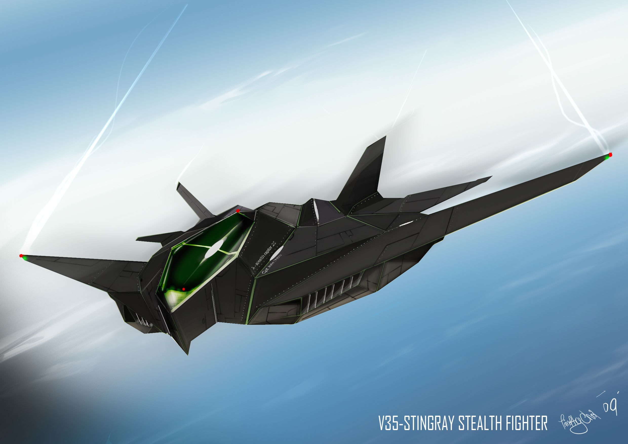 concept jets | V35 STINGRAY STEALTH FIGHTER by Kronium ...