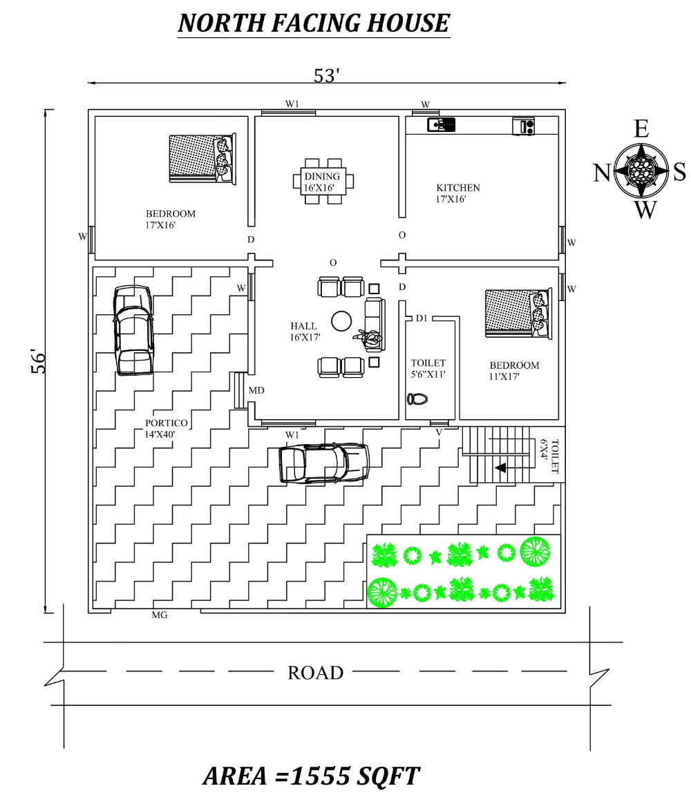 53 X56 Amazing North Facing 2bhk House Plan As Per Vastu Shastra Autocad Dwg And Pdf File Details 2bhk House Plan House Plans New House Plans