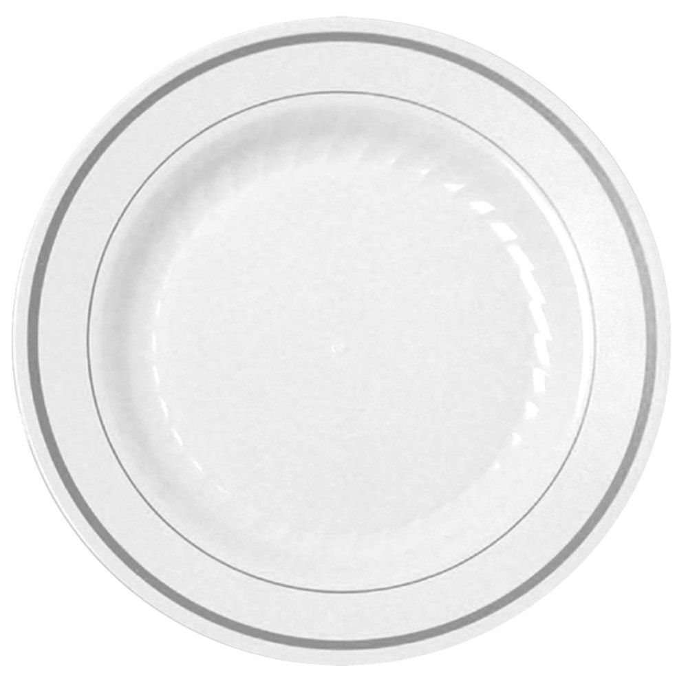 """120 9"""" plates - $60 150 6"""" plates - $36 @ http://www.webstaurantstore.com/fineline-silver-splendor-506-wh-white-6-plastic-plate-with-silver-bands-150-case/346506WH.html"""