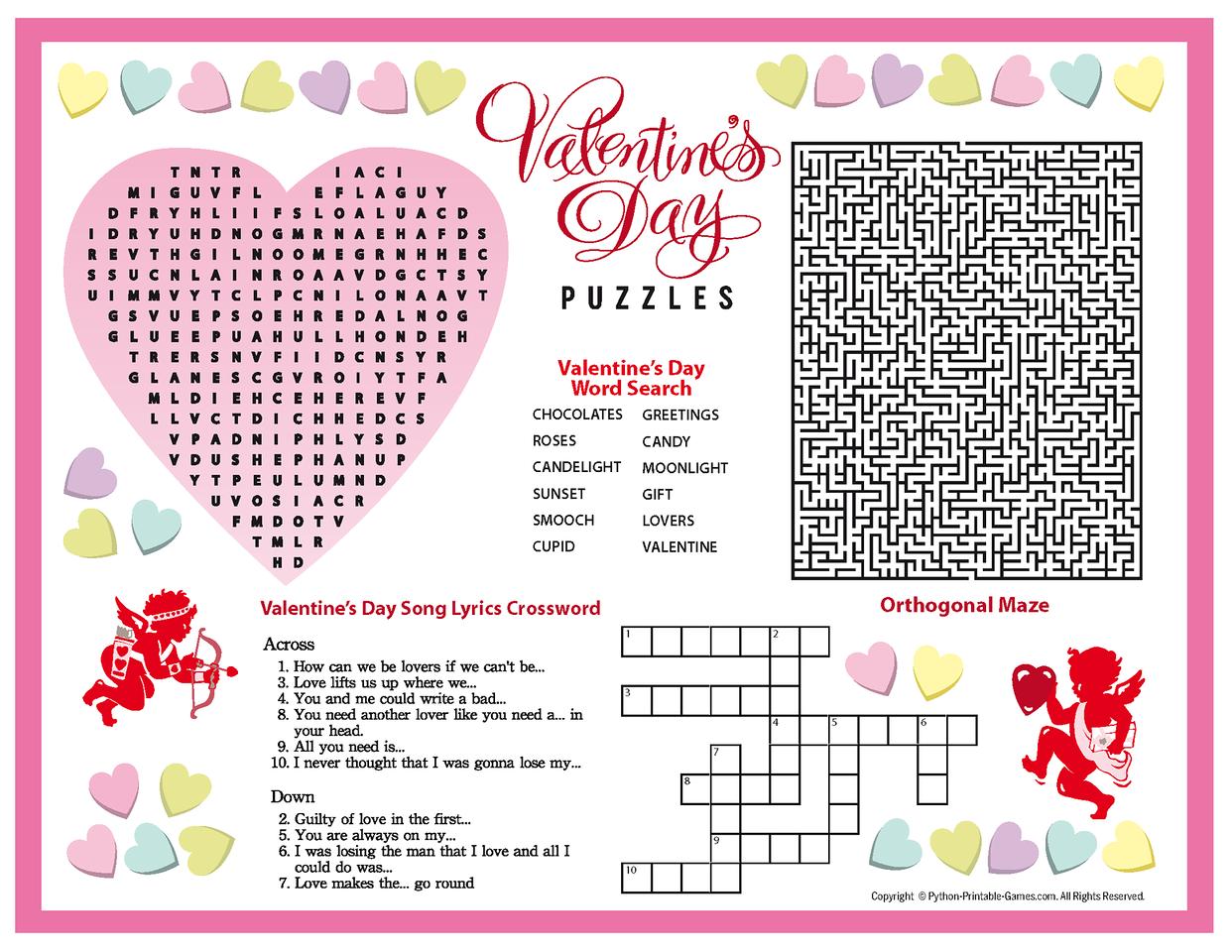 Valentine S Day Word Search Worksheet
