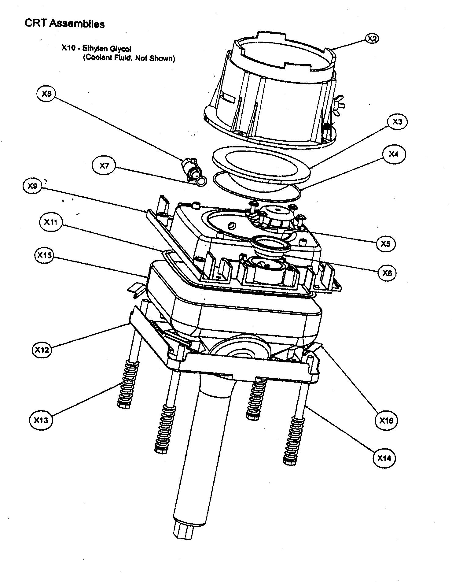 CRT ASSY Diagram & Parts List for Model 60pw9383 Magnavox