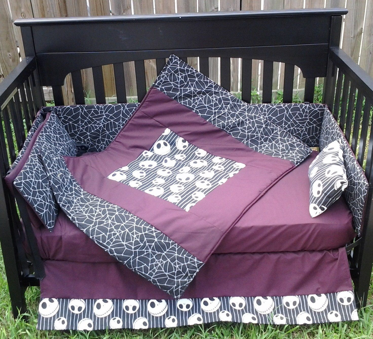 New Nightmare Before Christmas Crib Bedding Set M W New Jack Nbc Fabric 300 00 Via Etsy In 2020 Crib Bedding Sets Baby Themes Funky Bedding