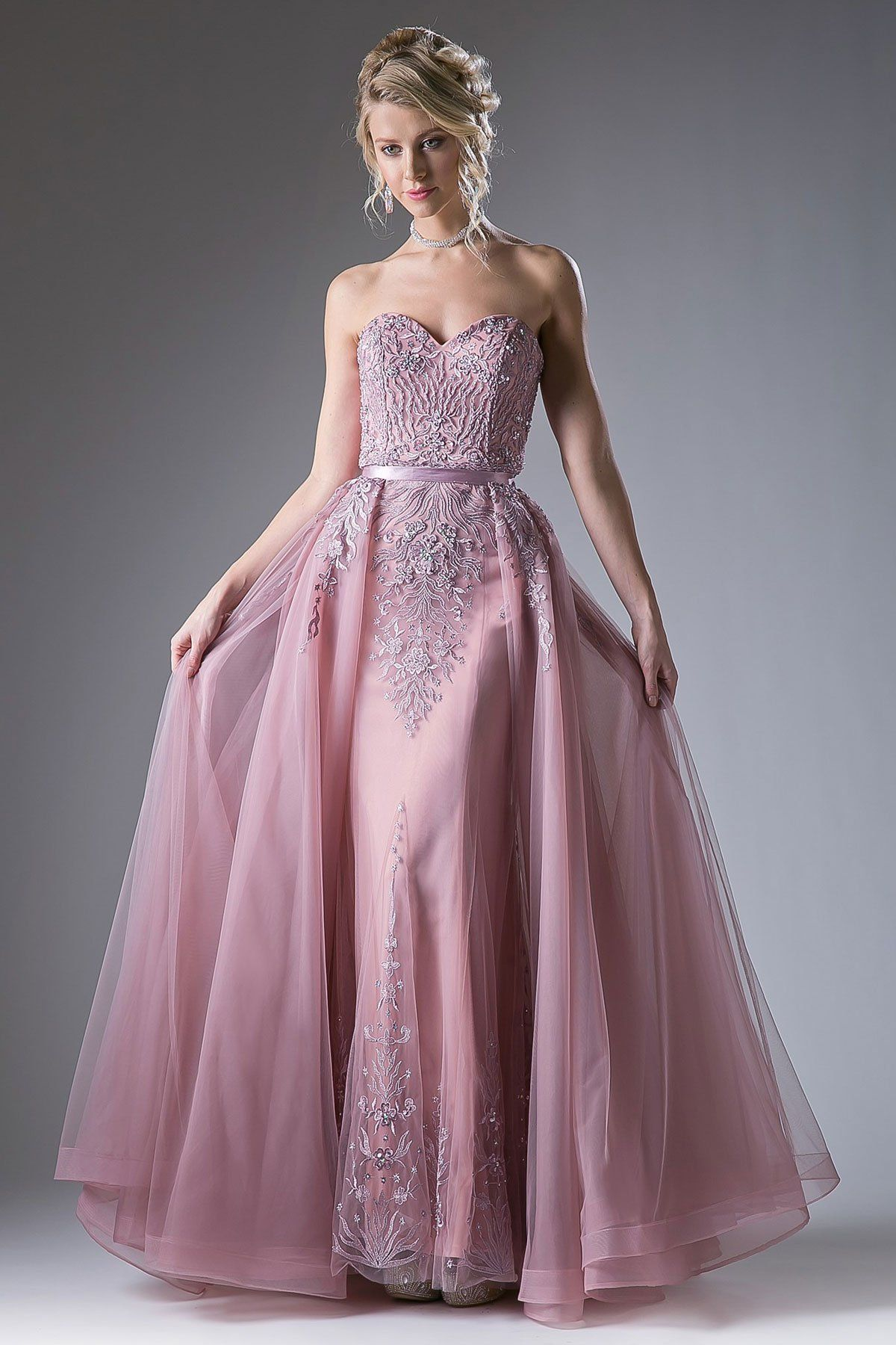 Strapless sweetheart sheer overlay gown with train colors dusty rose