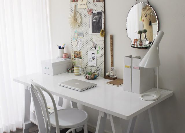 Clean Crisp White Study Area With Pinboard From Bunnings