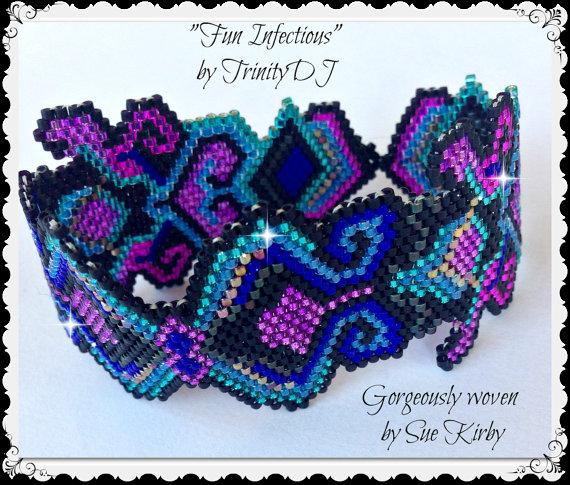 BP-PEY-013 - 2015 - 114 - Fun Infectious - Peyote Stitch Beadwork Pattern,beadweaving tutorial,beaded bracelet,bracelet pattern
