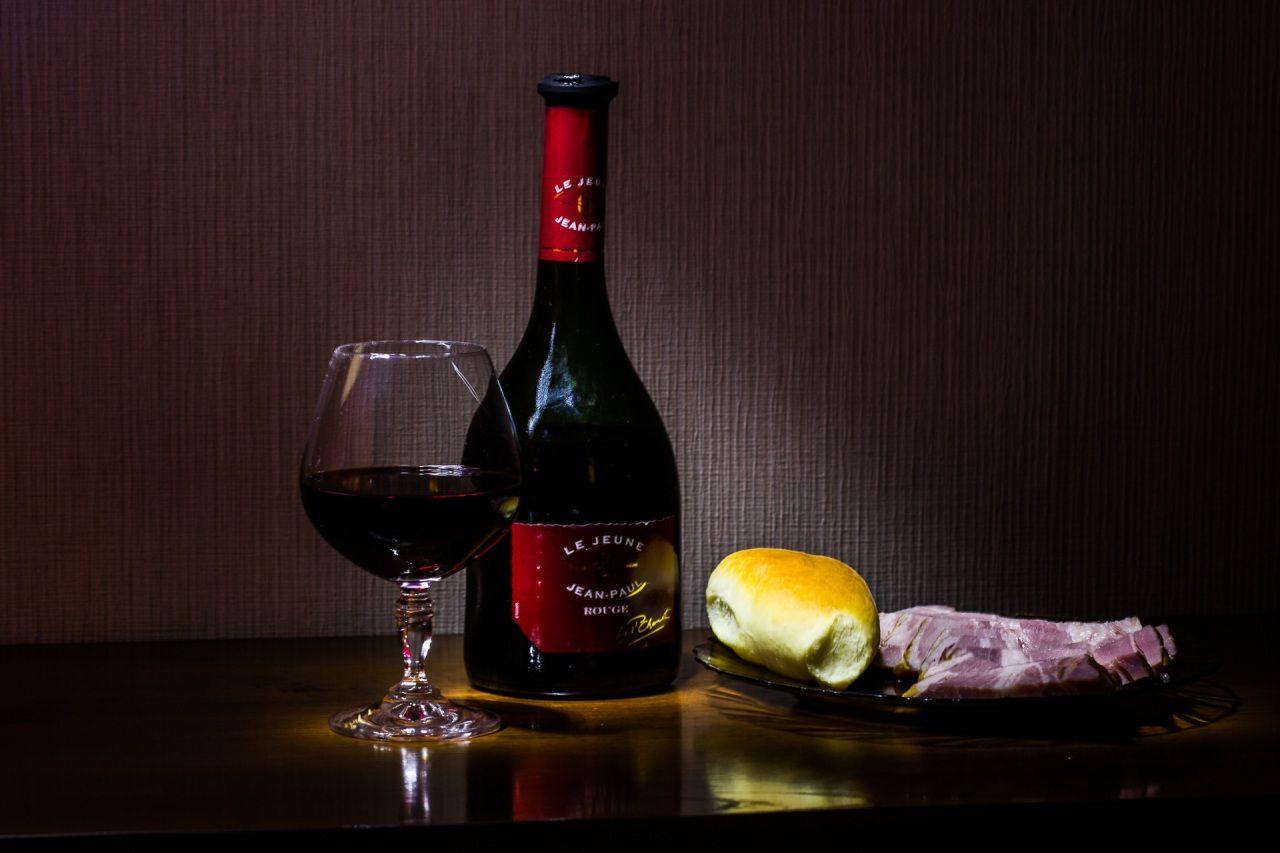 Still-life Drinks Wine Buns Ham Stemware Bottle Food