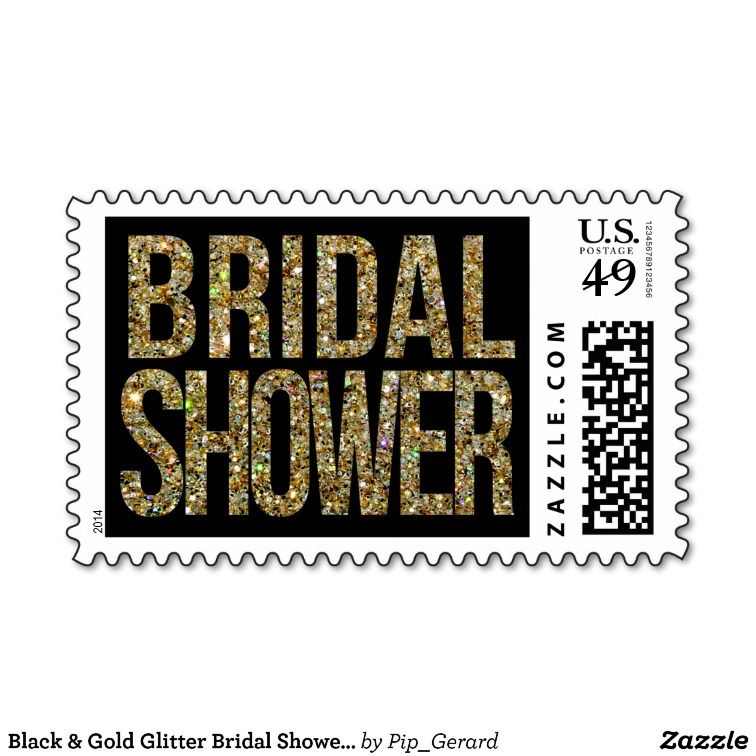 black gold glitter bridal shower postage stamps 24 for 20