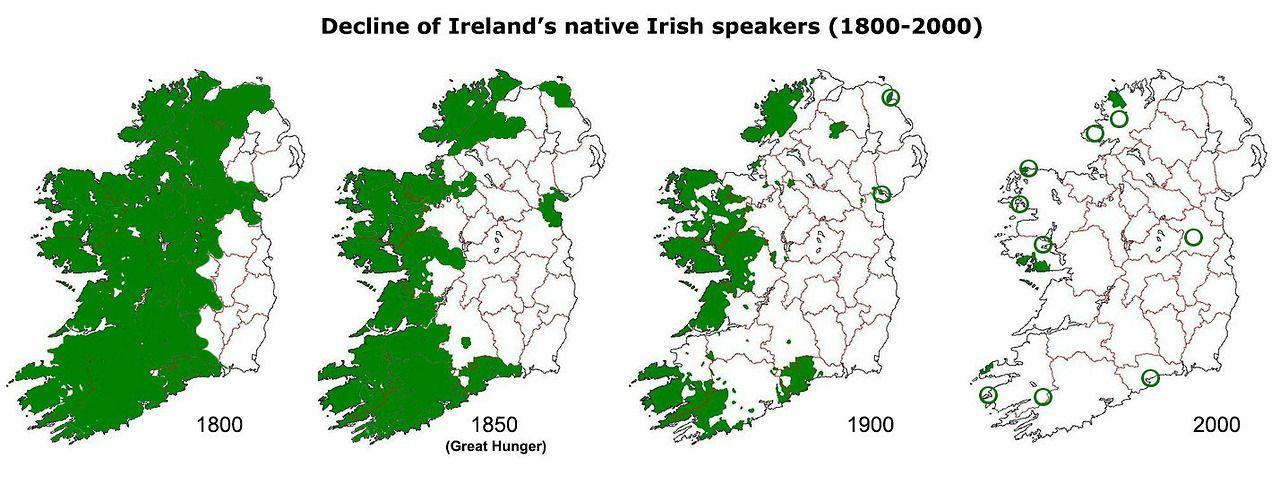 Decline Of Irish Language Over Years Language Pinterest - Irish language map