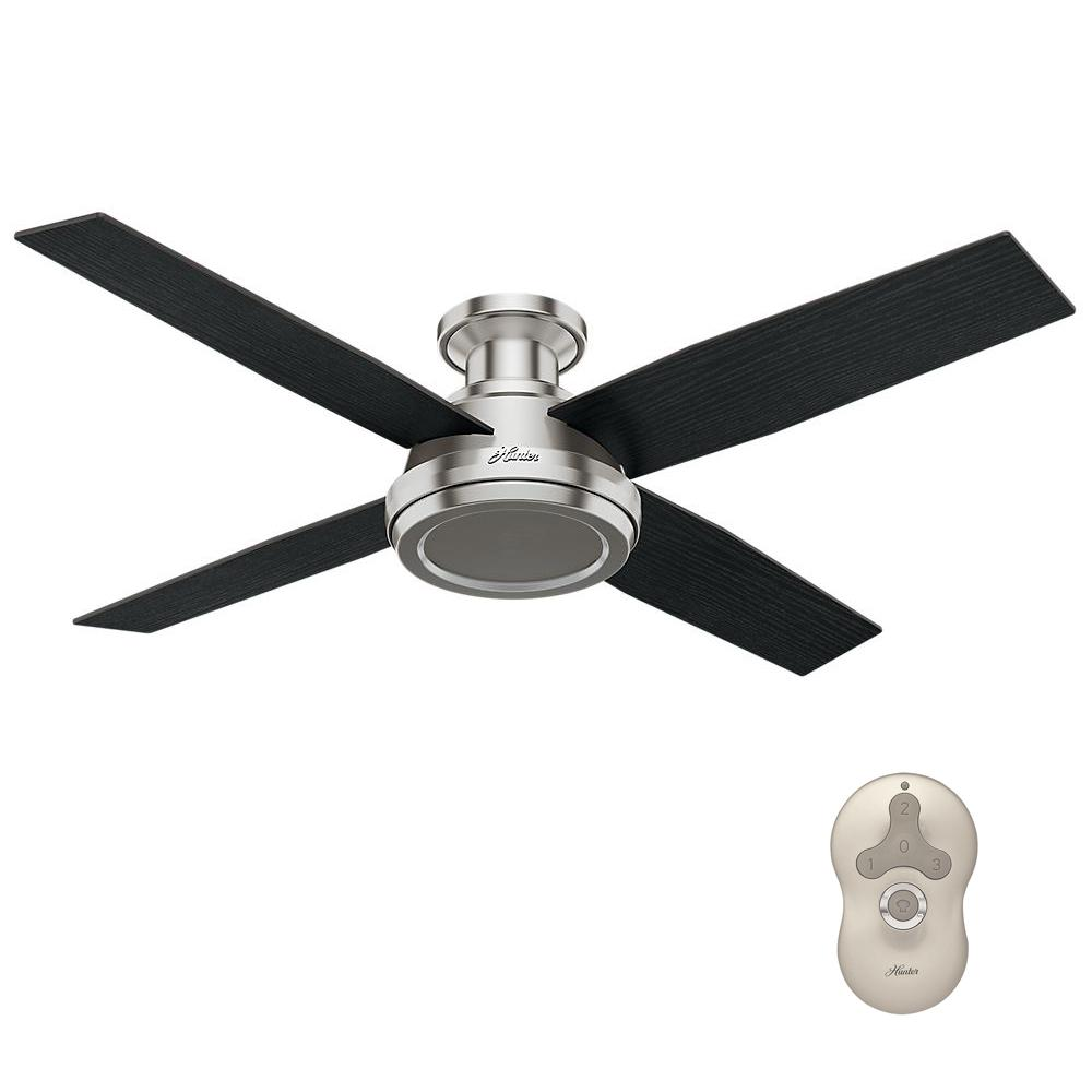 Hunter Dempsey 52 In Low Profile No Light Indoor Brushed Nickel Ceiling Fan With Remote Control 59247 With Images Brushed Nickel Ceiling Fan Ceiling Fan