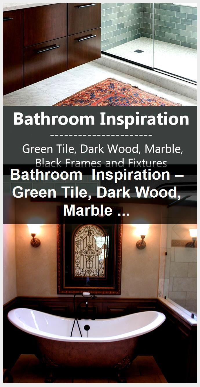 Photo of Bathroom inspiration – green tiles, dark wood, marble, black frames and fixings …, #bath …