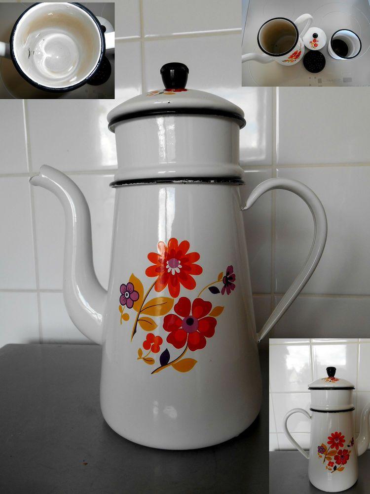 cafetière tôle émaillée blanche, décor fleurs, enameled ware ...