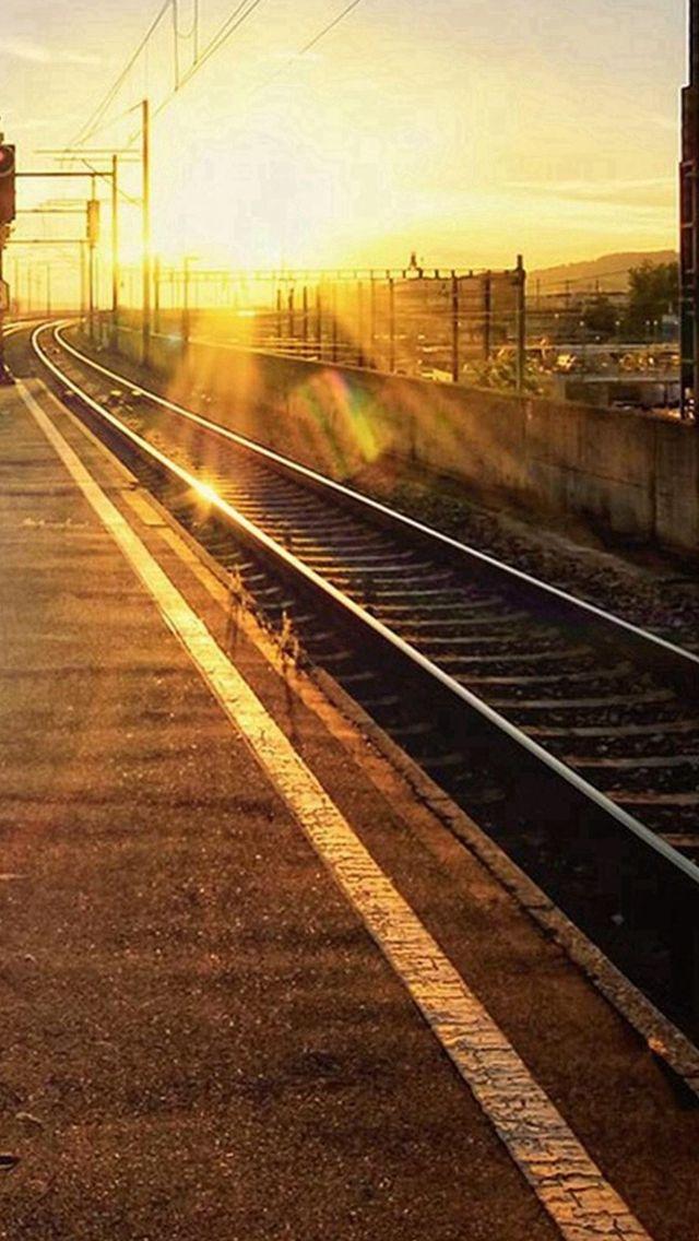 Sunset Railway Landscape Iphone 5s Wallpaper Wallpapers