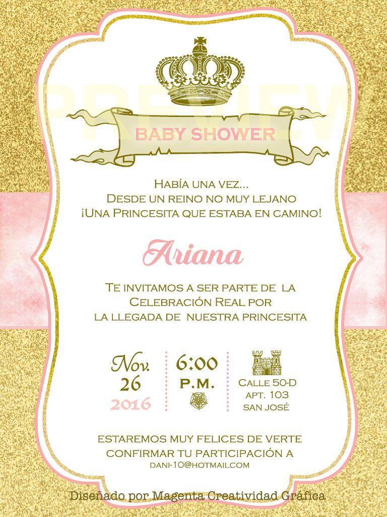 Tarjeta Princesa Baby Shower Niña Cumpleaños Estilo