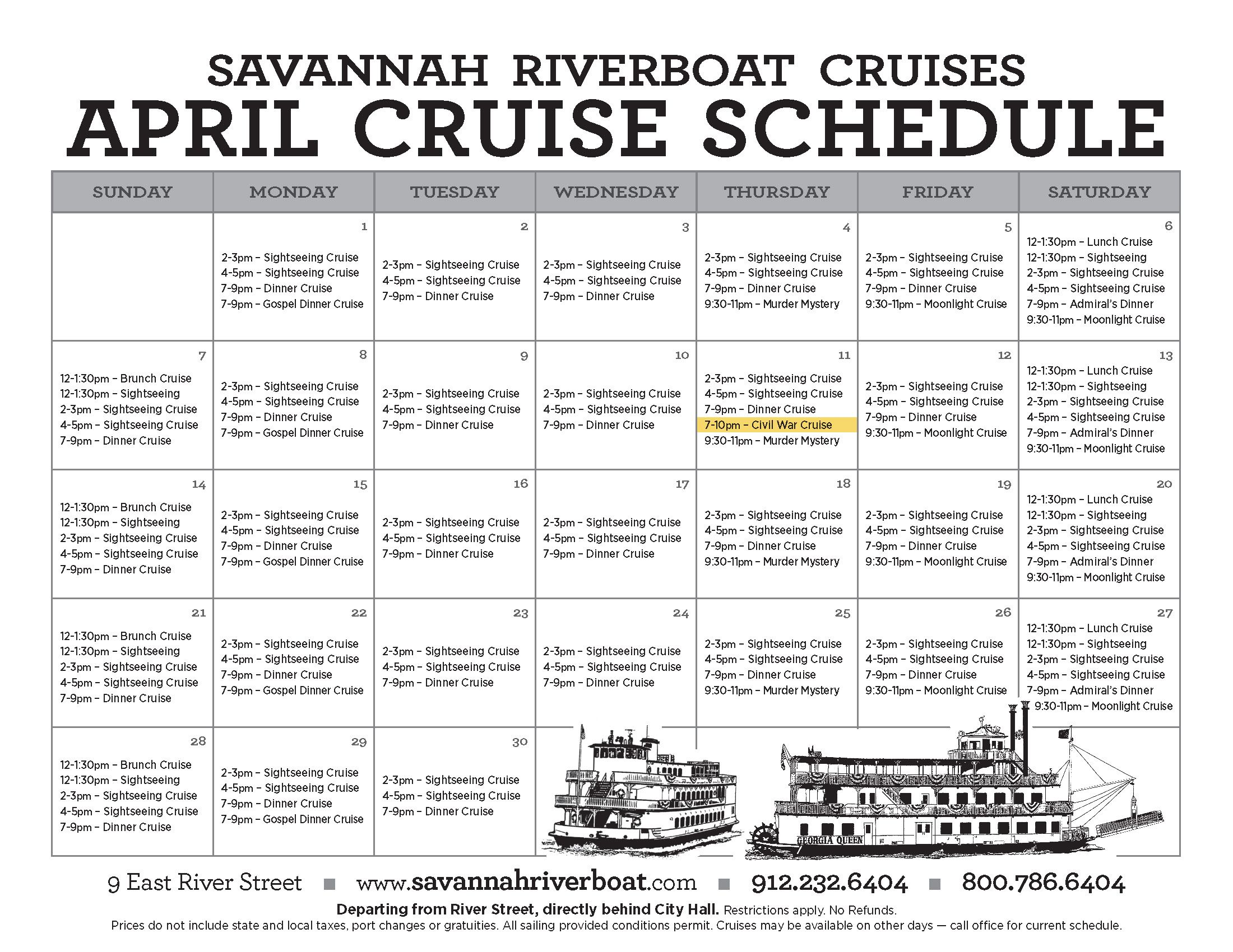 April calendar 2013 savannah chat river boat dinner cruise