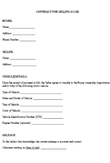 Contract For Selling A Car >> Contract Selling Vehicle Sample Letter For Selling A Car